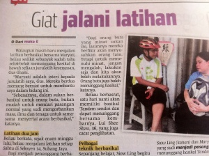 Blind Tandem Cycling in Berita Harian newspaper