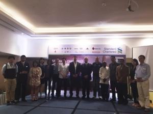 (From left to right): Ms KK Wong of Phiten Malaysia, Mr. Jkumar of Pacific Regency Hotel Group, Ms. Steffi Chuah of Salonpas, Ms. Lim Yee Feng of MSIG Insurance, Ms. Raja Nur Zahirah of Honda Malaysia, Mr. Joe Lim of Powerbar, Mr. David Wong of adidas Malaysia, Mr. James Beatt of Repucom, Mr. Mahendra Gursahani of Standard Chartered Bank Malaysia, Mr. Rainer Biemans of Dirigo Events, Y. Bhg. Datuk S. Vegiyathuman of FTKLAA, Mr. Muhammad Fauzi B. Ahmad of F&N Beverages, Y. Bhg. Dato' Hj. Noorul Ariffin of MAF, Ms. Asthy Lee of Seiko, and Mr. Loh Pak Chun of Konsortium Lebuhraya Utara – Timur (KL) Sdn. Bhd (DUKE).